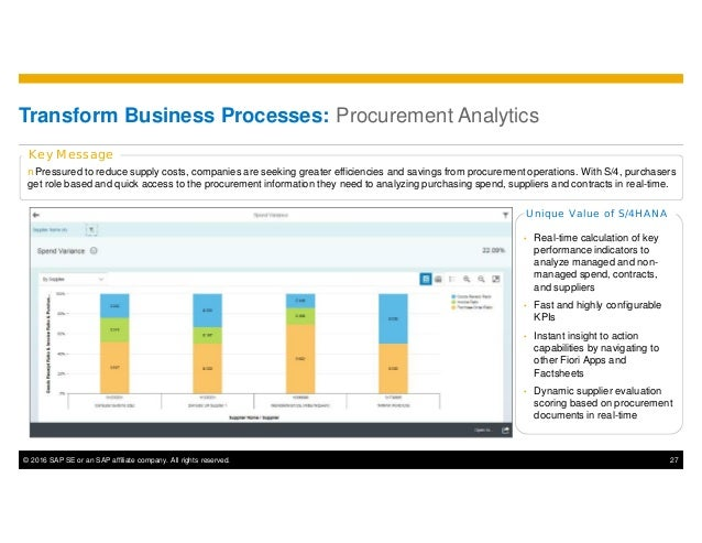 © 2016 SAP SE or an SAP affiliate company. All rights reserved. 27 nPressured to reduce supply costs, companies are seekin...