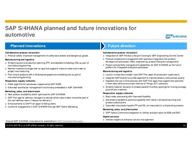 © 2016 SAP SE or an SAP affiliate company. All rights reserved. 33 SAP S/4HANA planned and future innovations for automoti...