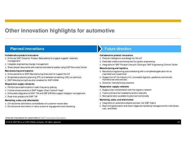 © 2016 SAP SE or an SAP affiliate company. All rights reserved. 34 Other innovation highlights for automotive Future direc...
