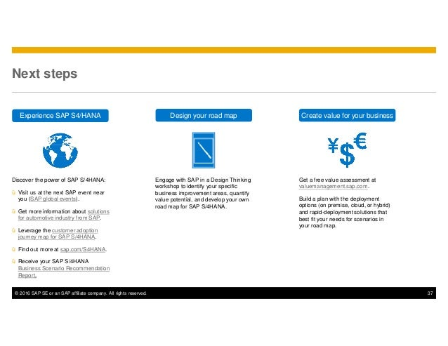 © 2016 SAP SE or an SAP affiliate company. All rights reserved. 37 Next steps Get a free value assessment at valuemanageme...