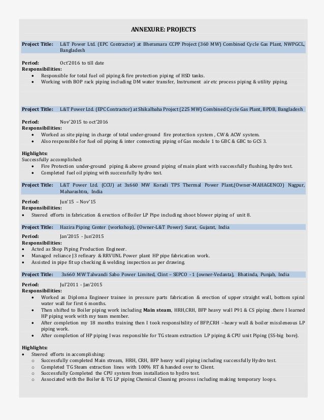resume for pipe fabrication engineer