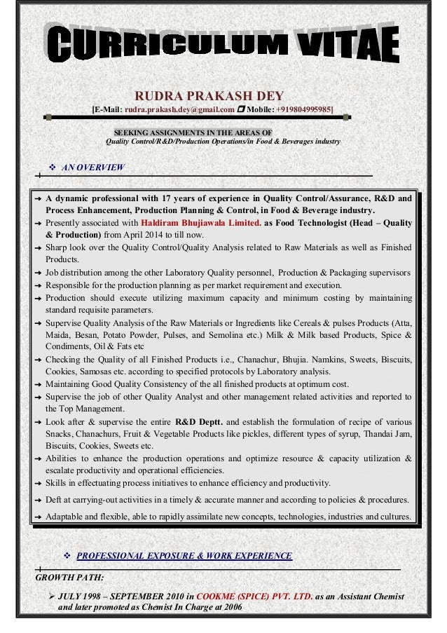contemporary food technologist curriculum vitae collection example