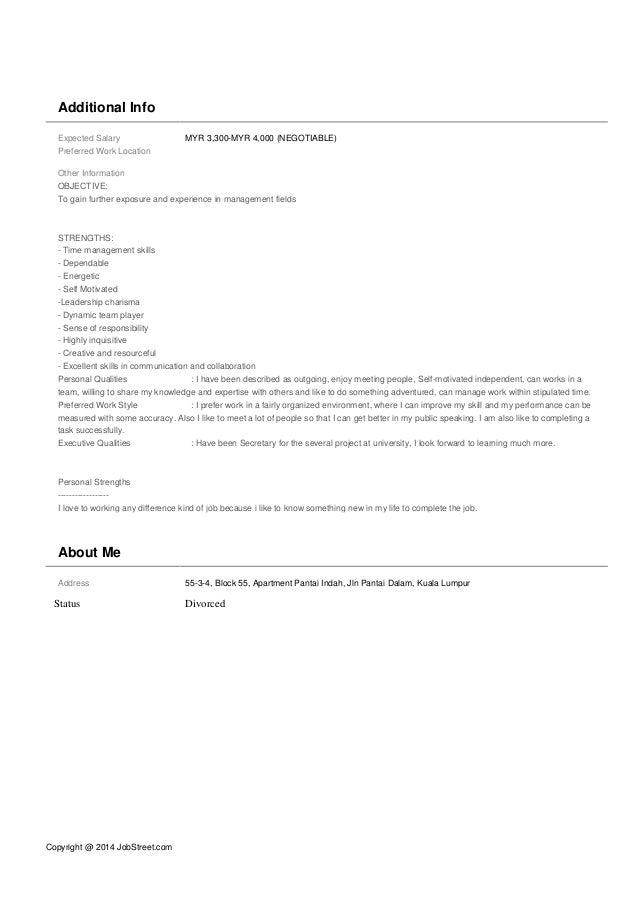 Copyright @ 2014 JobStreet.com Additional Info Expected Salary MYR 3,300-MYR 4,000 (NEGOTIABLE) Preferred Work Location Ot...