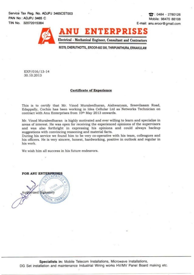 experience certificate anu enterprises