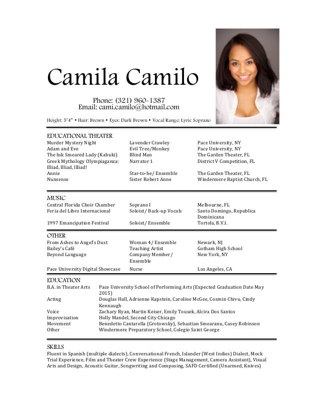 Ccamilo Acting Resume