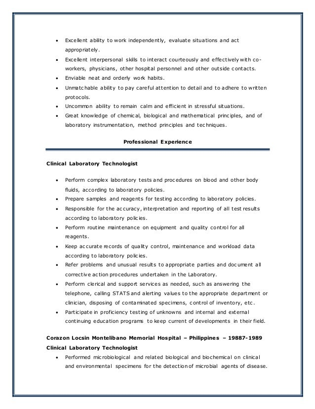 Medical Technologist Resume New
