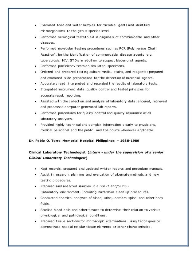 SlideShare  Medical Technologist Resume