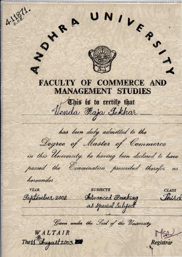 Graduation Certificate For Master Of Commerce