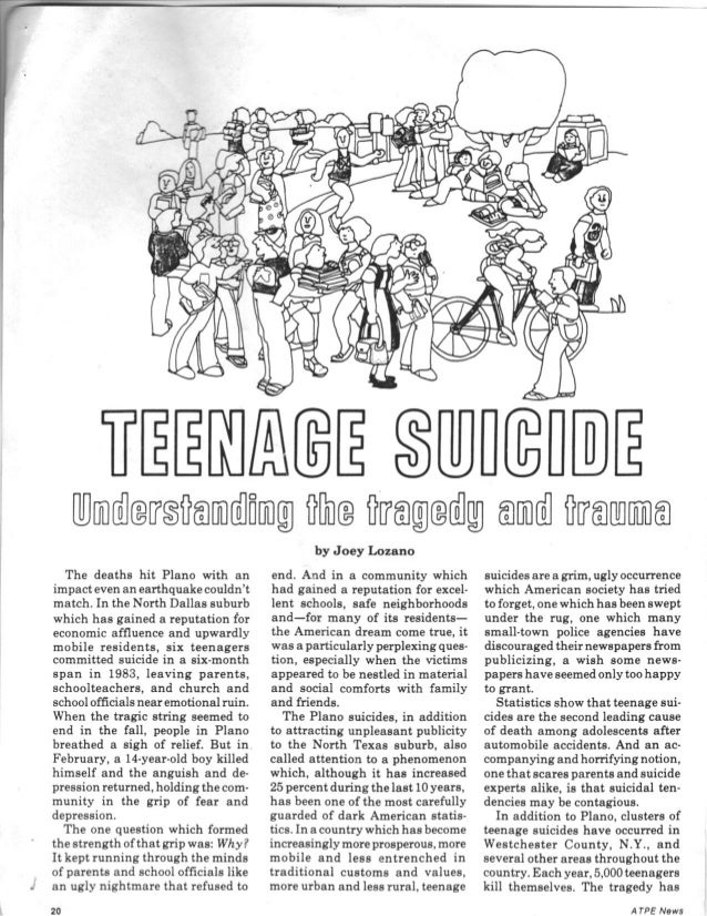 Teenage suicide feature for ATPE News