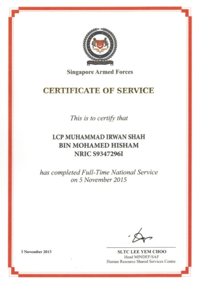 Certificate Of Service Cos
