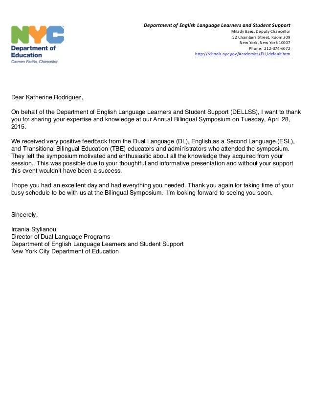 bilingual symposium thank you letter katherine
