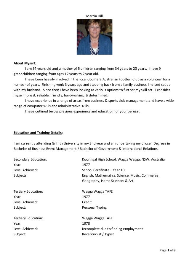 marcia hill resume at 8 7 2015