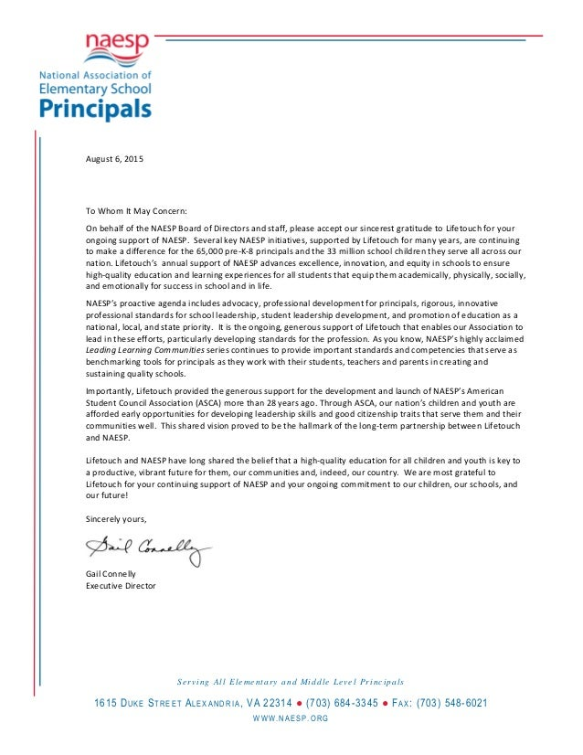 Lifetouch partnership letter naesp 2015 lifetouch partnership letter naesp 2015 august 6 2015 to whom it may concern on behalf of the naesp board spiritdancerdesigns Images