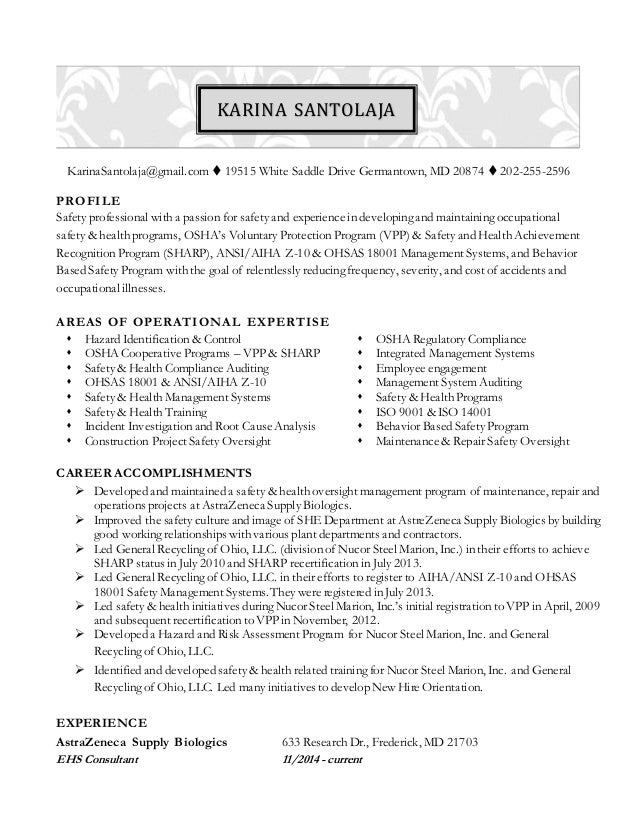 High Quality Karina Santolaja Resume   Safety Professional. KarinaSantolaja@gmail.com   19515 White Saddle Drive Germantown, MD 20874  202 ...  Safety Professional Resume
