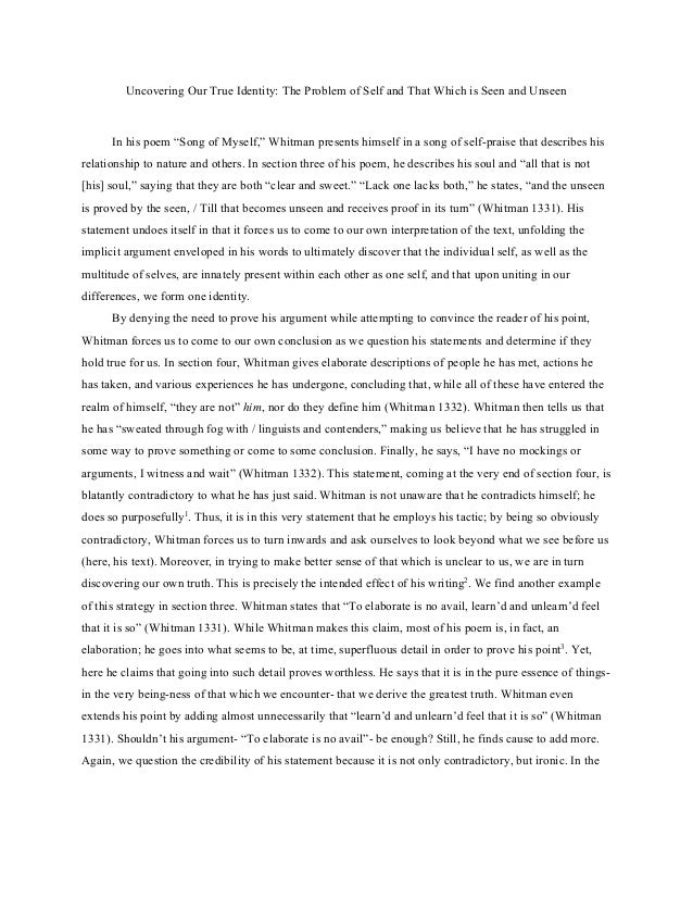 essay essay uncovering our true identity the problem of self and that which is seen and unseen