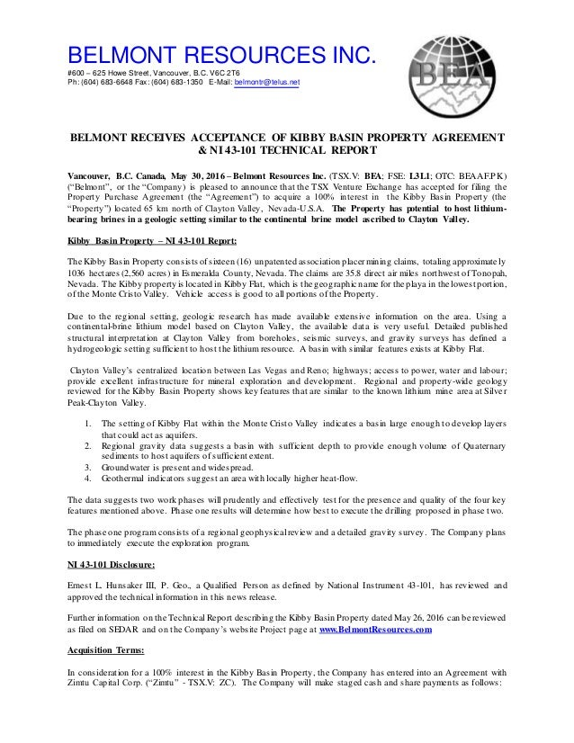 Belmont Receives Acceptance For Lithium Nevada Kibby Basin Proper