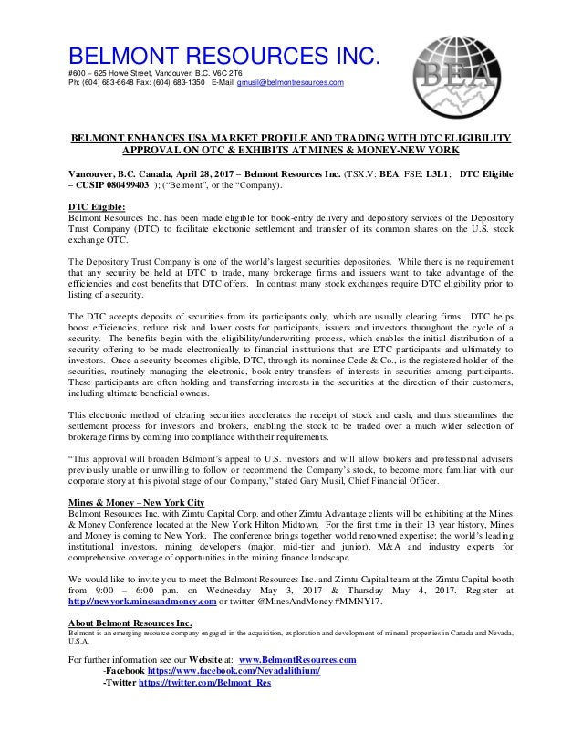 dtc eligible Belmont NEWS DTC eligibility.