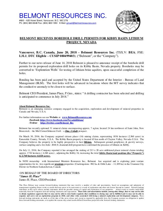 NEWS Release( for the market opening June,20 18) Belmont