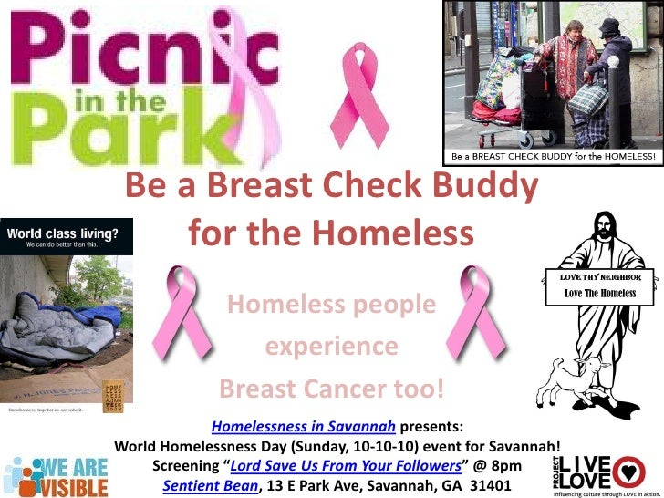 Be a Breast Check Buddy      for the Homeless               Homeless people                  experience               Brea...