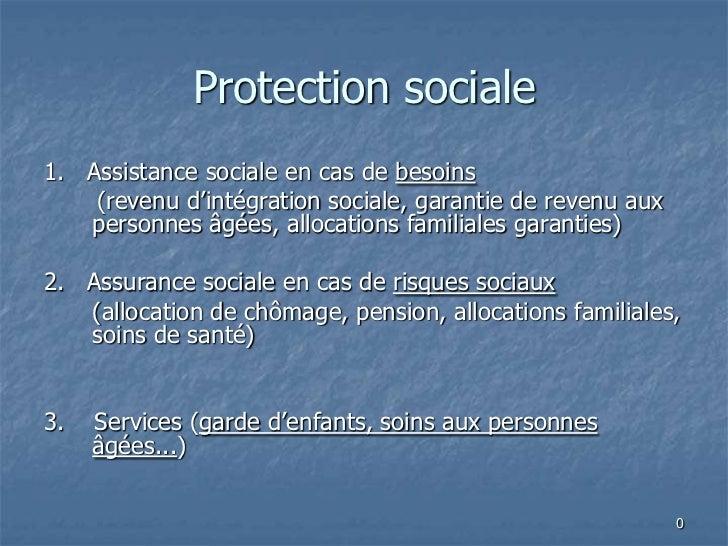 Protection sociale1. Assistance sociale en cas de besoins    (revenu d'intégration sociale, garantie de revenu aux   perso...