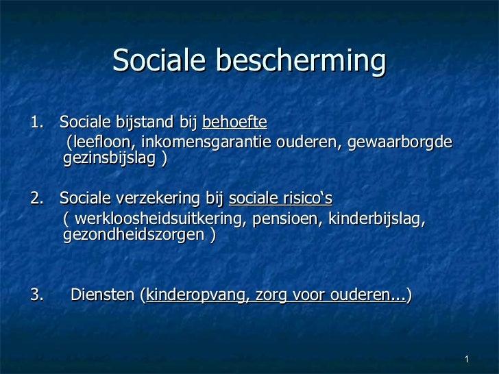 Sociale bescherming <ul><li>1.  Sociale bijstand bij  behoefte </li></ul><ul><li>(leefloon, inkomensgarantie ouderen, gewa...