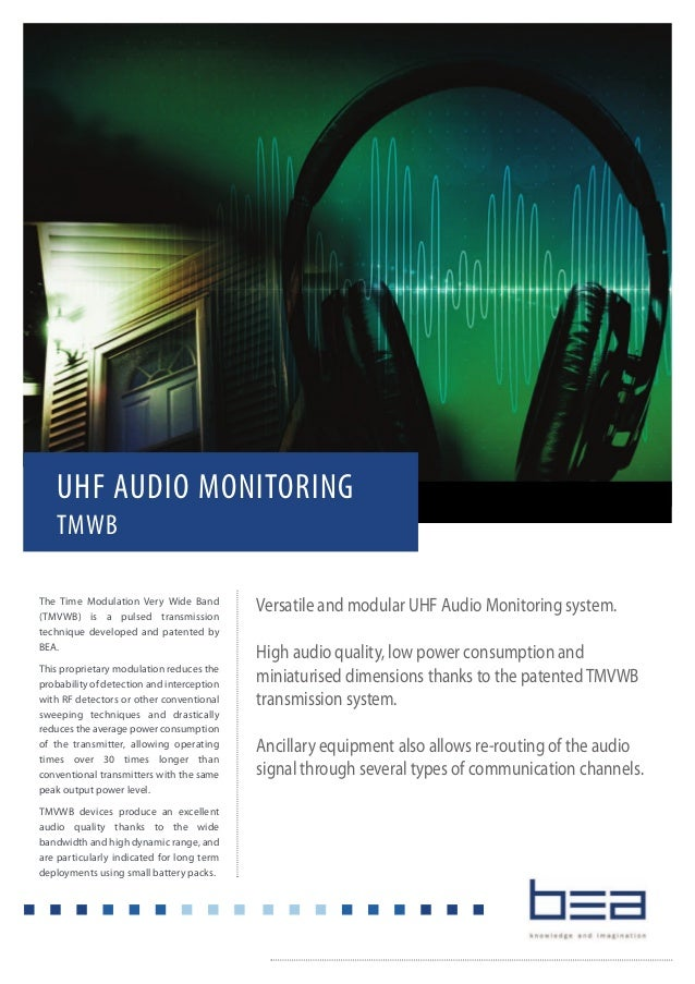 Versatile and modular UHF Audio Monitoring system. High audio quality, low power consumption and miniaturised dimensions t...
