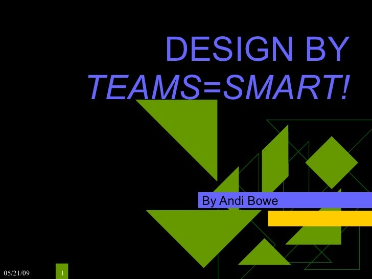 DESIGN BY                TEAMS=SMART!                       By Andi Bowe     05/21/09   1