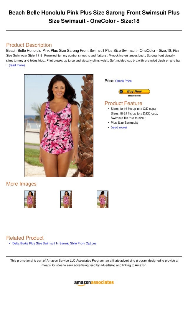 f296694612d1b Beach belle honolulu pink plus size sarong front swimsuit plus size swimsuit  one color - size18