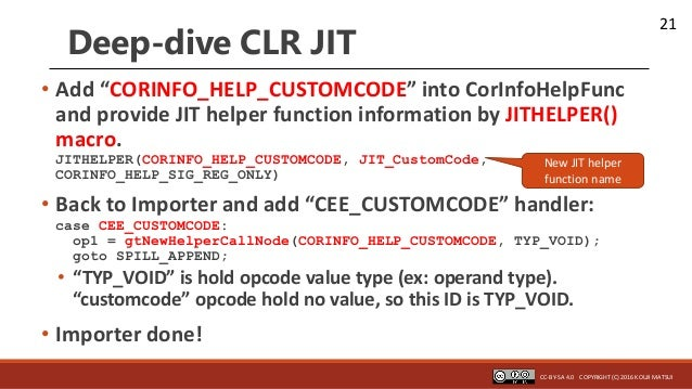 "21 Deep-dive CLR JIT • Add ""CORINFO_HELP_CUSTOMCODE"" into CorInfoHelpFunc and provide JIT helper function information by J..."