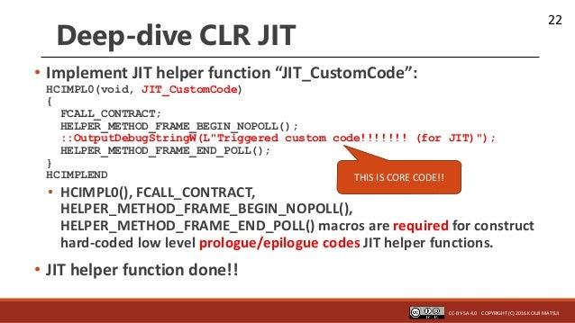 """22 Deep-dive CLR JIT • Implement JIT helper function """"JIT_CustomCode"""": HCIMPL0(void, JIT_CustomCode) { FCALL_CONTRACT; HEL..."""