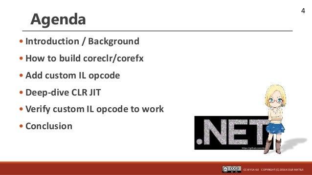 4 Agenda • Introduction / Background • How to build coreclr/corefx • Add custom IL opcode • Deep-dive CLR JIT • Verify cus...