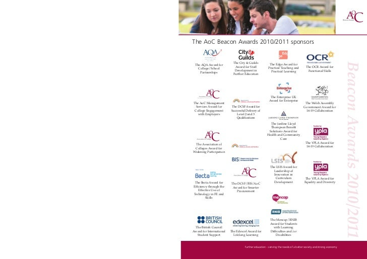The AoC Beacon Awards 2010/2011 sponsors                               The City & Guilds           The Edge Award for  The...