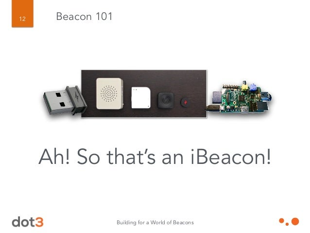 Building for a World of Beacons 13 Beacon 101 Yeah, not so fast. All iBeacons are BLE beacons. All BLE beacons are beacons...