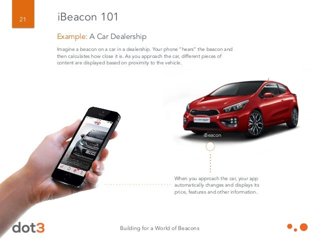 Building for a World of Beacons 22 A single beacon can trigger multiple interactions. A message when you arrive at the dea...