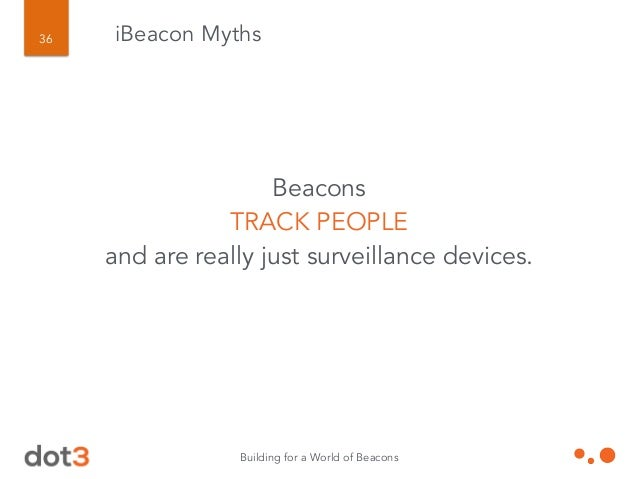 Building for a World of Beacons 37 iBeacon Myths Beacons TRIANGULATE location.