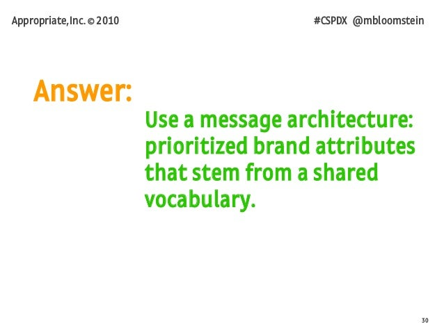 30 Appropriate, Inc. © 2010 #CSPDX @mbloomstein Answer: Use a message architecture: prioritized brand attributes that stem...