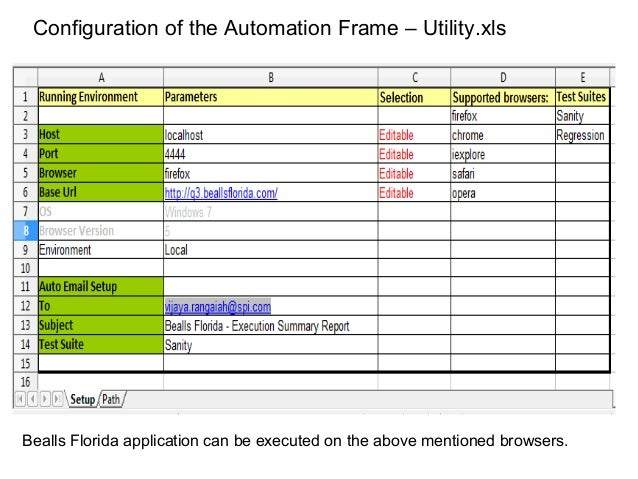 Configuration of the Automation Frame – Utility.xls Bealls Florida application can be executed on the above mentioned brow...
