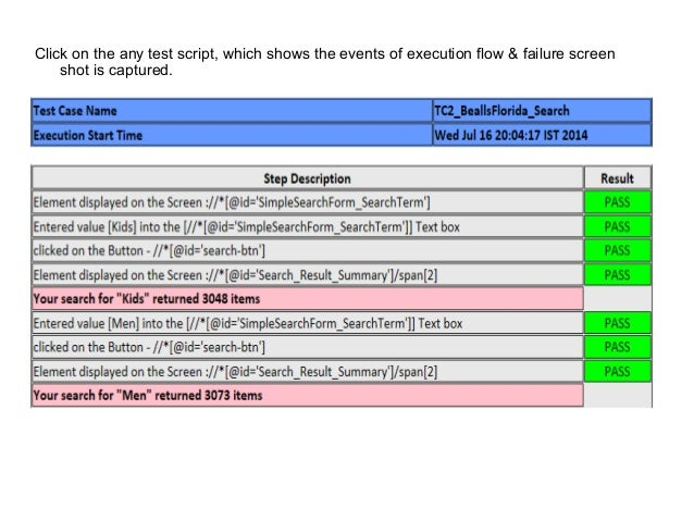 Click on the any test script, which shows the events of execution flow & failure screen shot is captured.