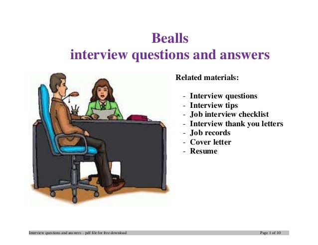 Interview Questions And Answers U2013 Pdf File For Free Download Page 1 Of 10  Bealls Interview ...