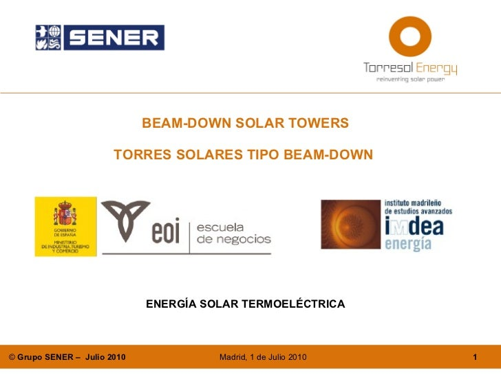 BEAM-DOWN SOLAR TOWERS TORRES SOLARES TIPO BEAM-DOWN   ENERGÍA SOLAR TERMOELÉCTRICA
