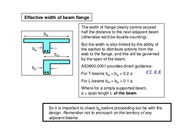 Effective width of beam flange                                The width of flange clearly cannot exceed        bef        ...