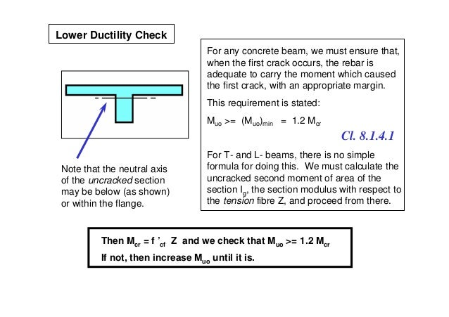 Lower Ductility Check                                    For any concrete beam, we must ensure that,                      ...