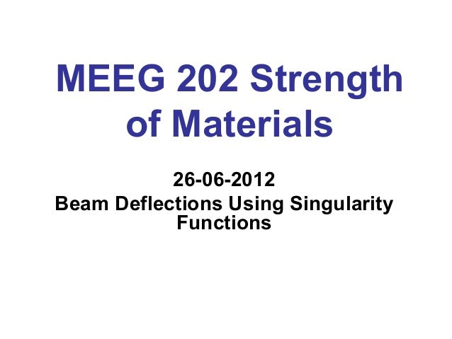MEEG 202 Strength of Materials 26-06-201226-06-2012 Beam Deflections Using Singularity Functions