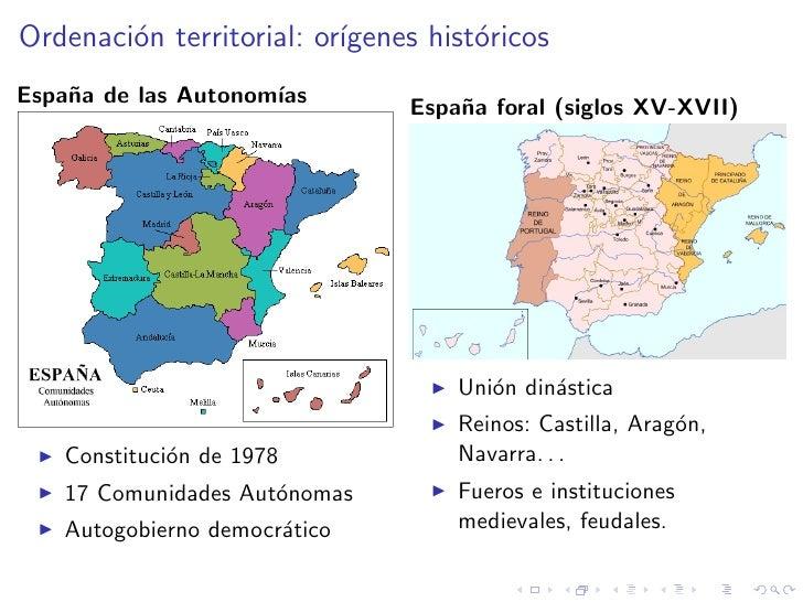 Ordenaci´n territorial: or´         o                 ıgenes hist´ricos                                      o Espa˜a de l...