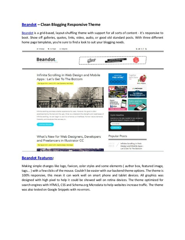 Beandot – Clean Blogging Responsive Theme Beandot is a grid-based, layout-shuffling theme with support for all sorts of co...