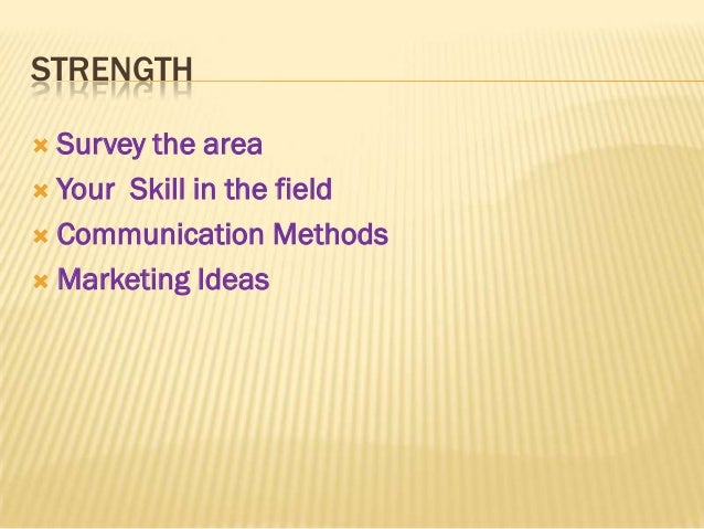 STRENGTH Survey the area Your Skill in the field Communication Methods Marketing Ideas