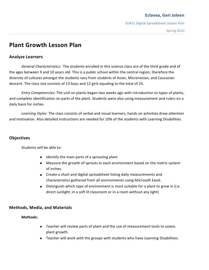 Plant Growth Lesson Plan<br />Analyze Learners<br />General Characteristics:  The students enrolled in this science class ...