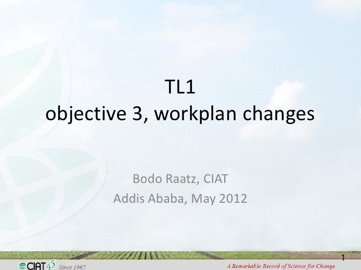 TL1objective 3, workplan changes          Bodo Raatz, CIAT       Addis Ababa, May 2012                                1