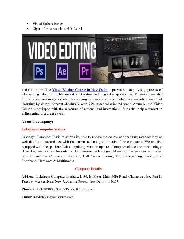 Be An Upcoming Video Editor By Learning The Best Video Editing Course