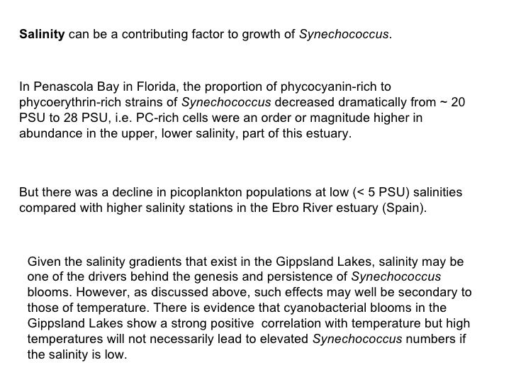 Salinity  can be a contributing factor to growth of  Synechococcus .   In Penascola Bay in Florida, the proportion of phyc...